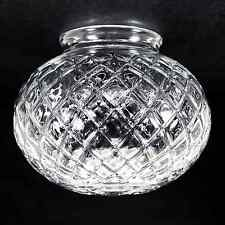 """Glass Globe Replacement 6"""" Clear Beveled Harlequin Design 3.25"""" Fitter 236-G17"""