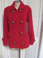 Boden Red Double Breast Ribbed Wool BIG BUTTON Peacoat Coat Jacket 14/16 XL NICE