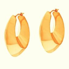 "BRONZO ITALIA YELLOW BRONZE 1.5"" GRADUATED OVAL PIERCED HOOP EARRINGS QVC $49.75"