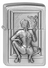 ZIPPO Feuerzeug SMOKING WOMAN m. Emblem Sexy Girl Korsett High Heels NEU OVP
