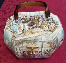 Vintage 1970s ANTON PIECK Wooden Box Purse Decoupage Handled Jewelry Mid Century