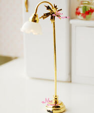 1/12 Dollhouse Miniature Self-control W/Battery Gold Leaf Floor Lamp Light