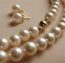 """9K Solid Gold Clasp 8-9MM White Akoya Pearl Necklace +Earring AA+ 17"""" x-05"""