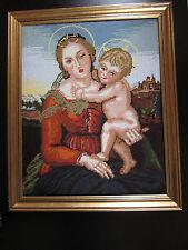Sehr schönes Gobelinbild Handarbeit selbstgestickt Mutter Gottes m. Kind &Rahmen