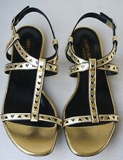 SAINT LAURENT HEART GOLD SANDALS FLATS EU 37 UK 4