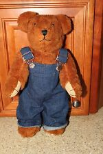 KEMINGTON EXPRESS PLUSH JOINTED TEDDY BEAR BROWN WITH OVERALLS 16 INCH