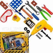 CHILDRENS KIDS TOOL SET TOOL KITS TOY PRETEND PLAY DIY WORK SHOP TOOL KIT NEW