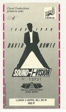 RARE / TICKET BILLET DE CONCERT - DAVID BOWIE : LIVE A PARIS ( FRANCE ) 1990