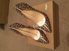 Christian Louboutin Follies Spikes BEIGE/MULTI METAL Size 37/ U.S 7