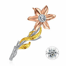 Women's Sterling Silver Rose Gold Plated Dancing Stone Flower Bouquet Brooch Pin