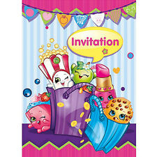 SHOPKINS INVITATIONS (8) ~ Birthday Party Supplies Stationery Cards Notes Pink