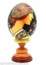 Art Deco WOOD EGG Russian Hand Painted no Nesting with stend Mucha style