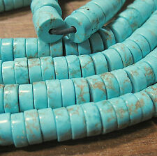 "Turquoise Howlite 10mm Heishi Rondelle 2mm Large Hole Beads 8"" Leather Wire"