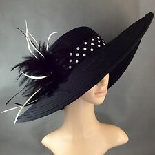 NEW Church Kentucky Derby BLACK Hat Feathers Wide Brim Dress Wedding Tea Party