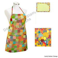 Colorful Checked Kona Cotton Apron + 3-Ring Recipe Book Binder & Cards Set New