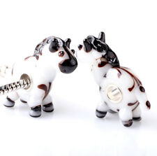 1pcs SILVER MURANO GLASS BEAD LAMPWORK Animal fit European Charm Bracelet ZZ287