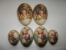 Vintage Set of Three Paper Mache Nesting Easter Eggs Made in Germany