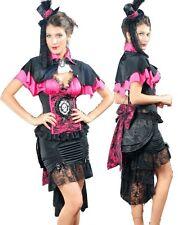 Gothic Victorian Burlesque LOLITA abito Vampiro Costume con Skull APPL. incl. CAPPELLO