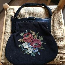 Vintage Black Needlepoint Purse With Bakelite Frame