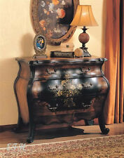 NEW ROMA TWO TONE BLACK WARM CHERRY FINISH WOOD FLORAL DESIGN BOMBE HALL CHEST