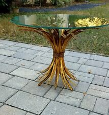 VINTAGE French Gilt WHEAT SHEAF Table Mid Century Hollywood Regency Coco Style
