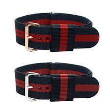 20mm Nylon Watch Band Strap Stripe Fiber Fabric Strap Sport for Mens Watches