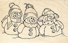 Snowman Friends P235 Stampendous Rubber Stamp ~ w/m Free Shipping  NEW