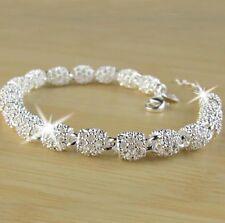 Elegantes Armband 925 Sterling Silber Plattiert Schmuck Damen Armreif Kette P45
