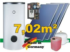 Solaranlage Komplettpaket mit Flachkollektoren 7,02 m² Warmwasser 400L Speicher