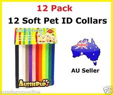 12 Soft Adjustable Whelping ID Pet Puppy Kitten ID Velcro Collar Bands Reusable