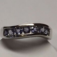 Natural 2.5ct Iolite Water Sapphire 925 Solid Sterling Silver Solitaire Ring 8