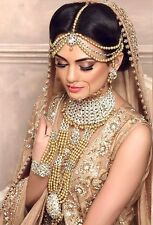 TRADITIONAL WHITE CZ GOLD TONE NECKLACE INDIAN BRIDAL DULHAN JEWELRY SET 10 PCS