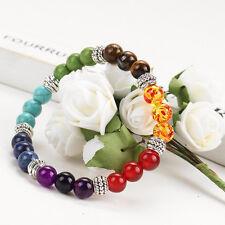 Mens Womens 7 Chakra Mixed Stone Healing Chakra Pray Mala Bracelet Beads Jewelry