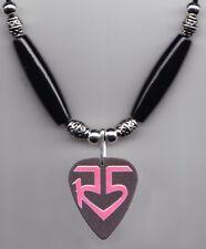 R5 Black/Pink Logo Guitar Pick Necklace