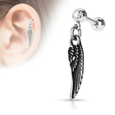 "16g 1/4"" Dangle Angel Wing Clear 4MM CZ Gem Barbell Ear Tragus Cartilage Helix"