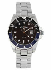 MENS LA BANUS SUBMARINER WATCH STAINLESS STEEL BLUE & BLACK DIAL PARNIS DATE GMT
