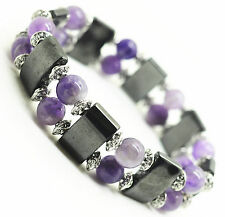 8MM Natural Amethyst Round Beads Hematite Magnetic Healing Crystal Bracelet
