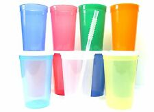 12 Large 20 Oz Plastic Drinking Glasses Lids Straws Mfg USA Recyclable No BPA