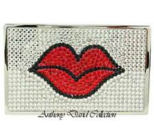Kiss Red Lips Silver Metal Crystal Business Card Case with Swarovski Crystals