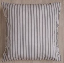 Handmade Cushion Cover - Grey / White Stripes  - Same Fabric Front & Back