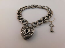 ANTIQUE STERLING HEART LOCK BRACELET ORIGINAL KEY SILVER 925 FILIGREE VICTORIAN