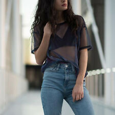 2017 Fashion Womens Hollow Transparent Blouse Tops Short Sleeve T Shirt Clubwear