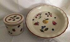 Longaberger Pottery-Fruit Medley Pie Plate & Small Crock With Coaster Lid