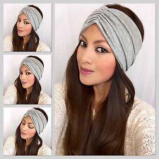 Summer Turban headband In Light Grey Scrunch Style Wide Headwrap Grey Headband