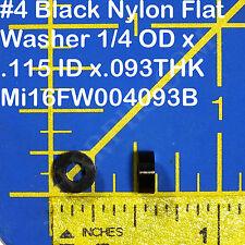 100 Pcs #4 Black Nylon Flat Washer 1/4 ODx.115IDx.093THK 16FW004093B