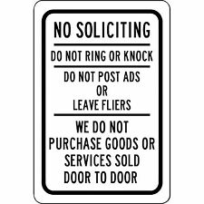 "No Soliciting Do Not Ring Or Knock - Keep Salesmen Away 8"" x 12"" Aluminum Sign"