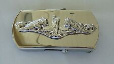 USN US NAVY SHIP SUBMARINE SUB CREW'S WARFARE WARRIOR SILVER DOLPHIN BELT BUCKLE