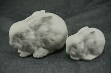 Kaiser Porcelain RABBIT FIGURINES #578 and Smaller One - West Germany