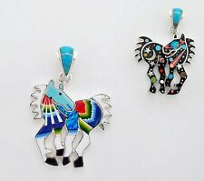 PLEASANT HANDMADE HORSE PENDANT TURQUOISE/MULTI COLOR STONE INLAY .925 SILVER