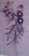 "16"" Purple 3D Embroidery Sequin Rhinestone Flower Sewing Appliqué Trim"